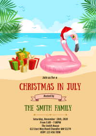 Christmas in July party invitation A6 template
