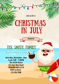 Christmas in July party invitation