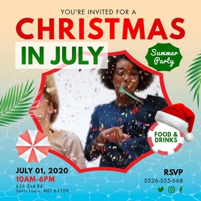 Christmas in July Party Invite Social Media V