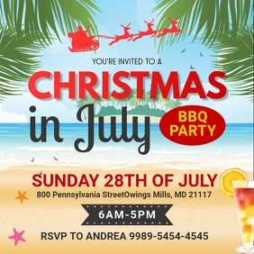Christmas in July Party Social Media Invite