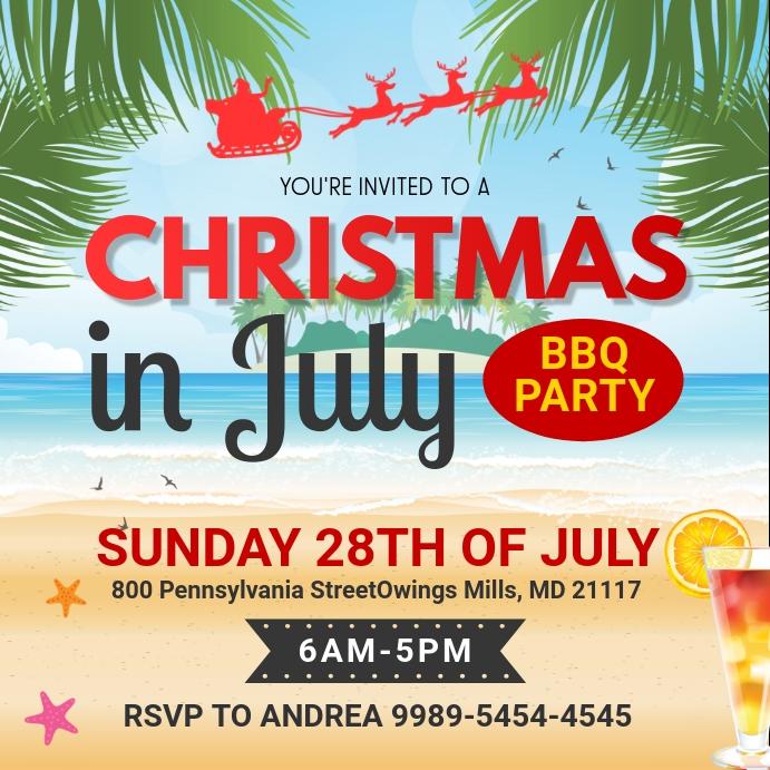 Christmas in July Party Social Media Invite