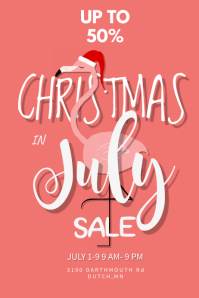 Christmas In July Sale Poster Template