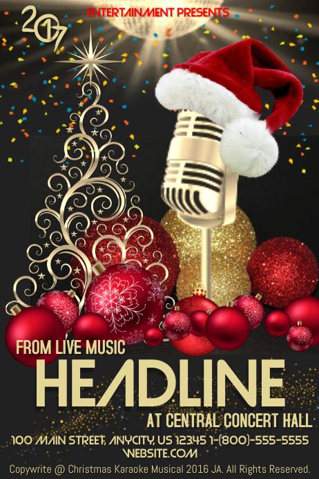 Karaoke Christmas Musical.Christmas Karaoke Template Postermywall