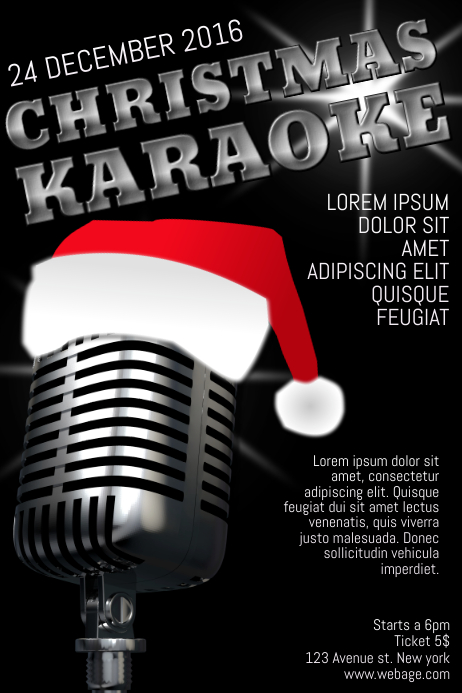 christmas karaoke flyer template