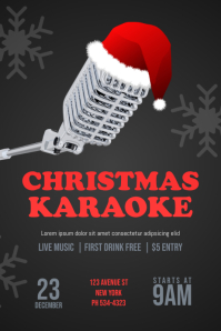 Christmas Karaoke Flyer Template Poster