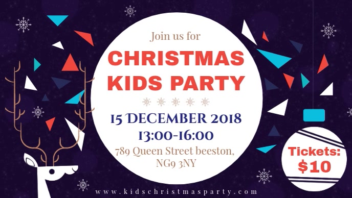 Christmas Kids Party Facebook Cover Video template