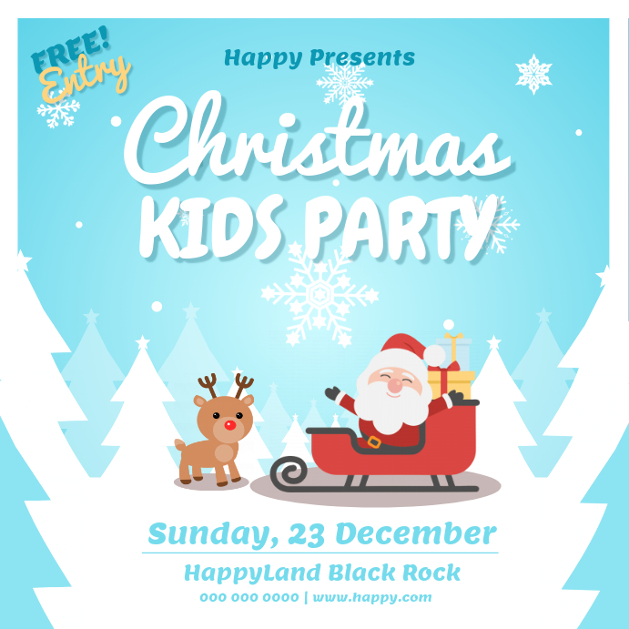 Christmas Kids Party Instagram Image Instagram-opslag template