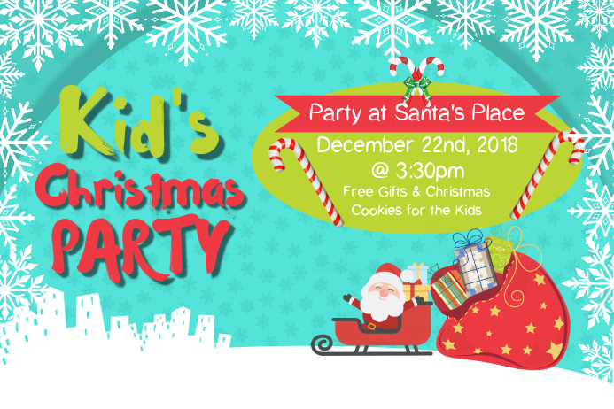 Christmas Kids Party Landscape Poster Cartaz template