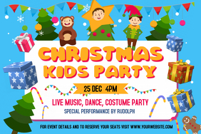 Christmas Kids Party Landscape Poster