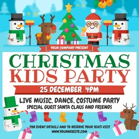 Christmas Kids Party Square Video