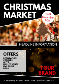 Christmas Market Event Special Flyer Lights A4 template