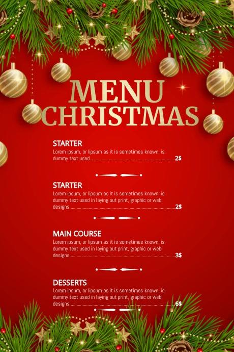 Christmas menu, Christmas, Menu Plakat template