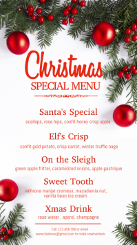 christmas menu, christmas, menu Digital Display (9:16) template