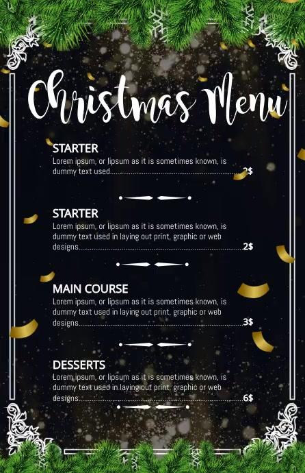 Christmas menu, Christmas, Menu Szeroki pół strony template