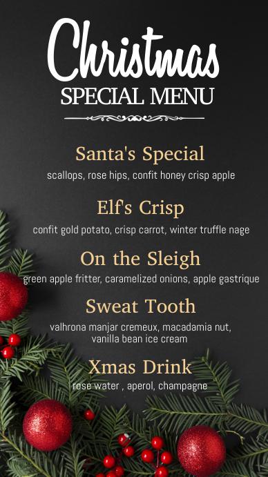 christmas menu, christmas, menu Digitalt display (9:16) template