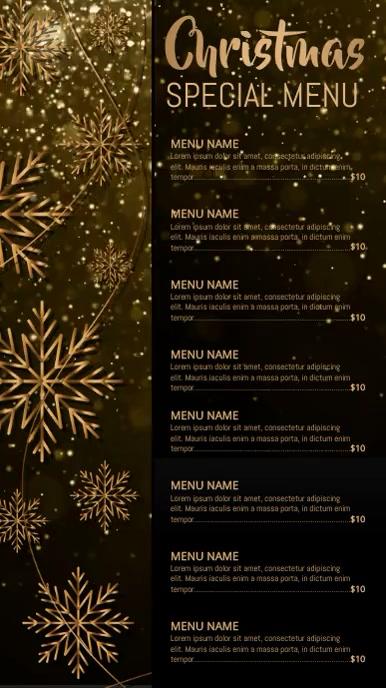 christmas menu, christmas, menu Ekran reklamowy (9:16) template