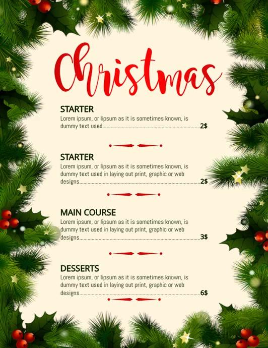 Christmas menu, Christmas, Menu Ulotka (US Letter) template