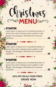 Christmas menu, Christmas Halv side bred template