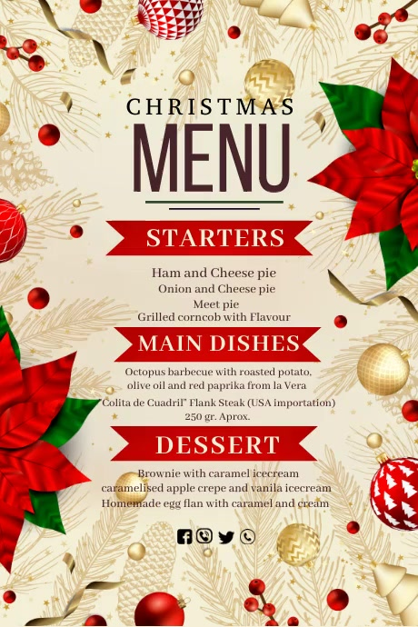 Christmas menu, Christmas dinner Poster template