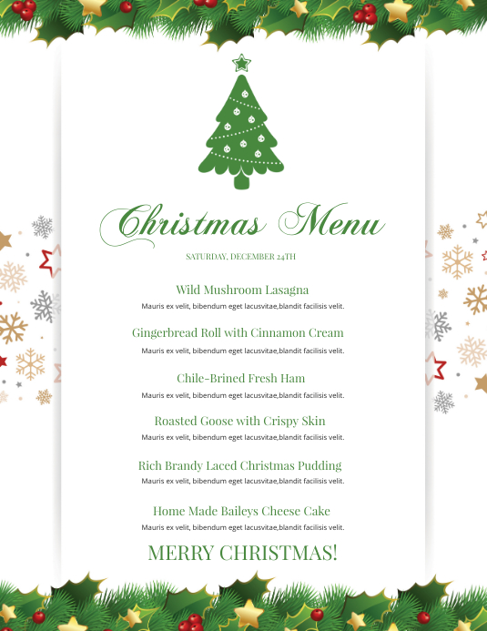 Christmas Menu, Holiday menu 传单(美国信函) template
