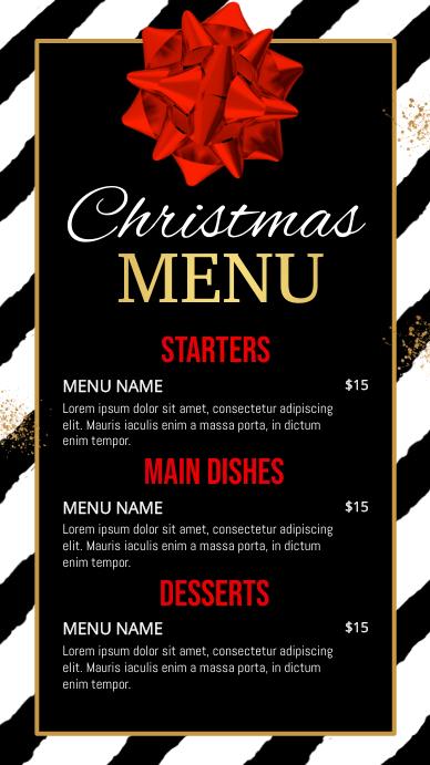 christmas menu, new year menu, menu Ekran reklamowy (9:16) template