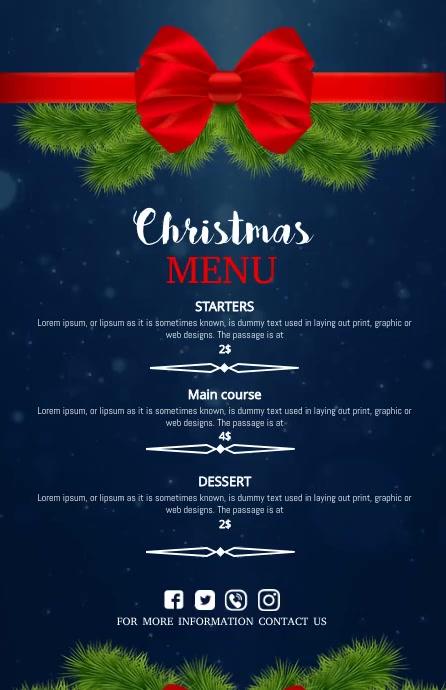 christmas menu,christmas Szeroki pół strony template