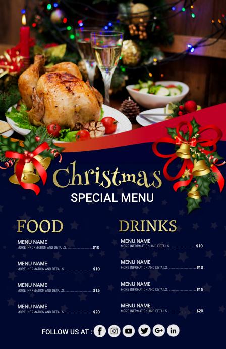 Christmas menu,christmas Tabloïd template