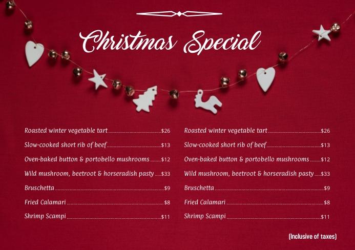 Christmas Menu 15 A5 template