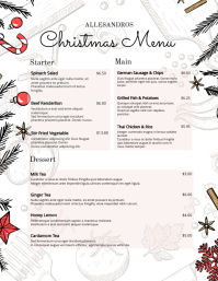Christmas Menu Board White Flyer (US Letter) template