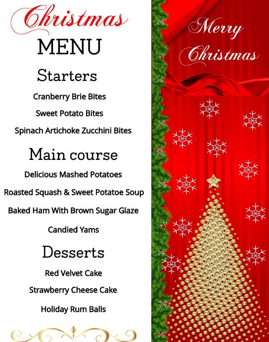Christmas Menu Plakat/tablica ścienna template