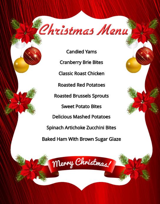 Christmas Menu Template Plakat/tablica ścienna