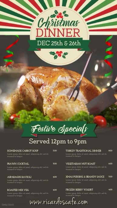 Christmas Menu Digital Display Template