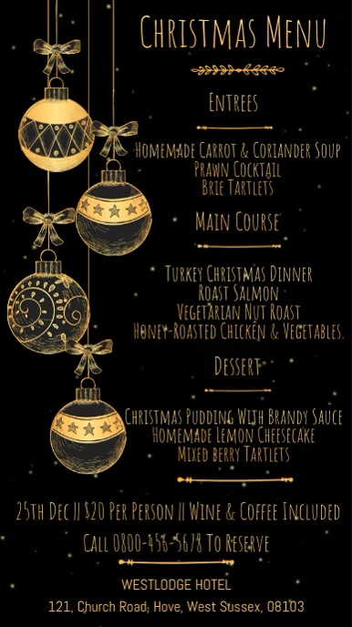 Christmas Menu Digital Template Digitale display (9:16)