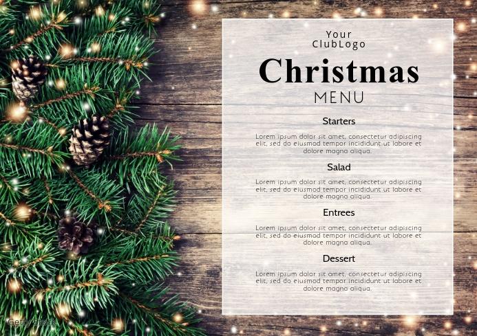 Christmas Menu Dinner Restaurant Event Flyer A4 template