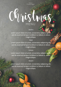 Christmas Menu Dinner Restaurant Flyer Card