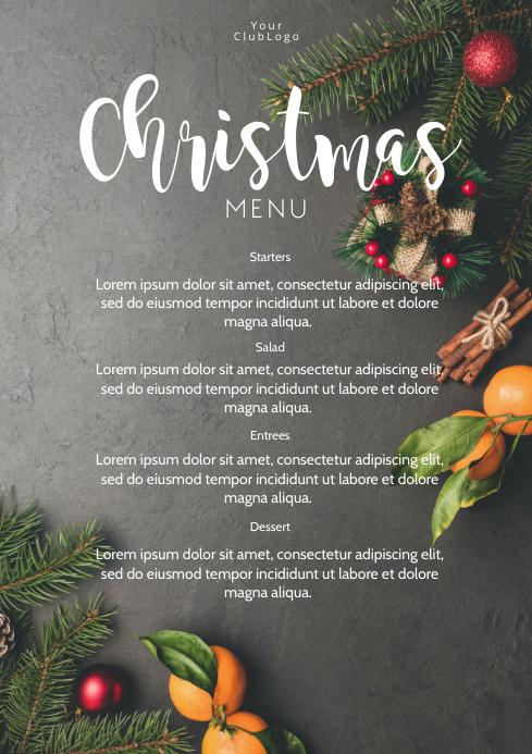 Christmas Menu Dinner Restaurant Flyer Card