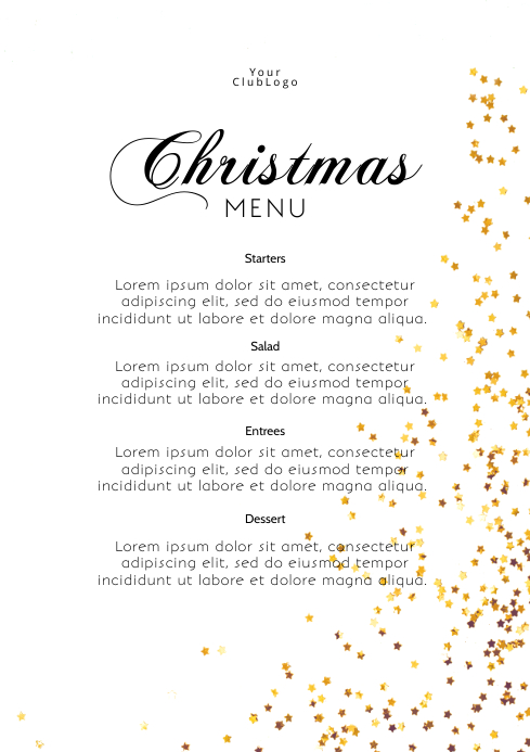 Christmas Menu Dinner Template Dishes Flyer A4