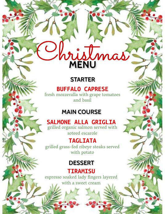 CHRISTMAS menu Flyer Template 传单(美国信函)