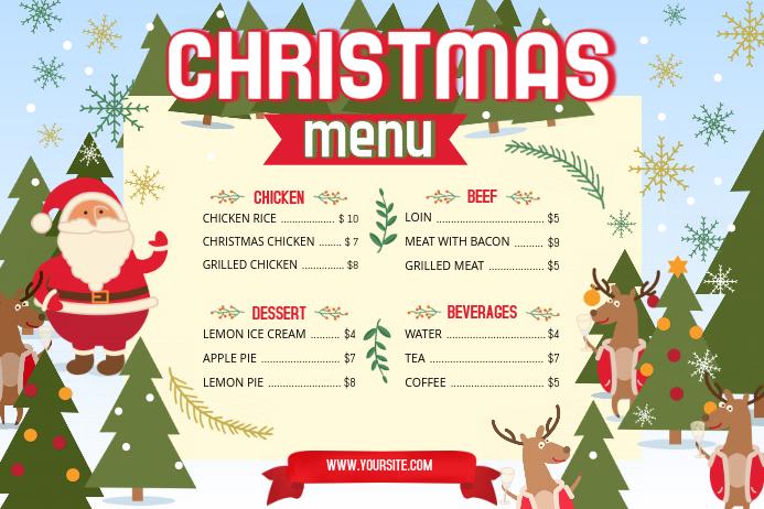 Christmas Menu Landscape Poster template
