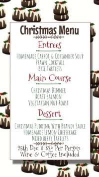 Christmas Menu Signage Template