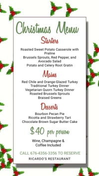 Christmas Menu Template Digital Display (9:16)
