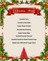 Christmas Menu Template Poster/Wallboard