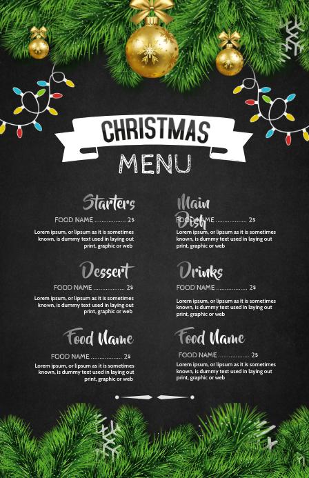 Christmas menu. Christmas, Menu Half Page Wide template