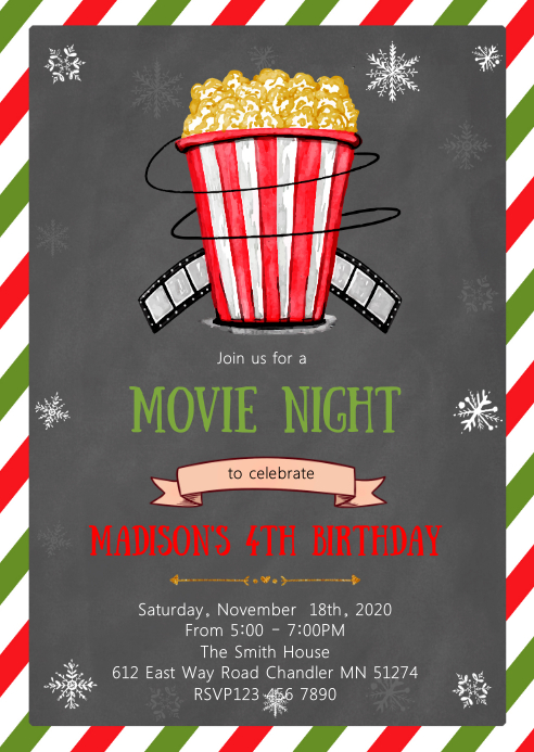 Christmas movie birthday party invitation