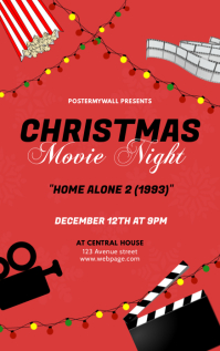 Christmas Movie night flyer design Template