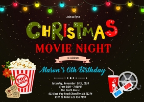 Christmas movie night party invitation A6 template