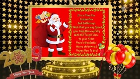 Christmas / New Year animated E -card Facebook Cover Video (16:9) template