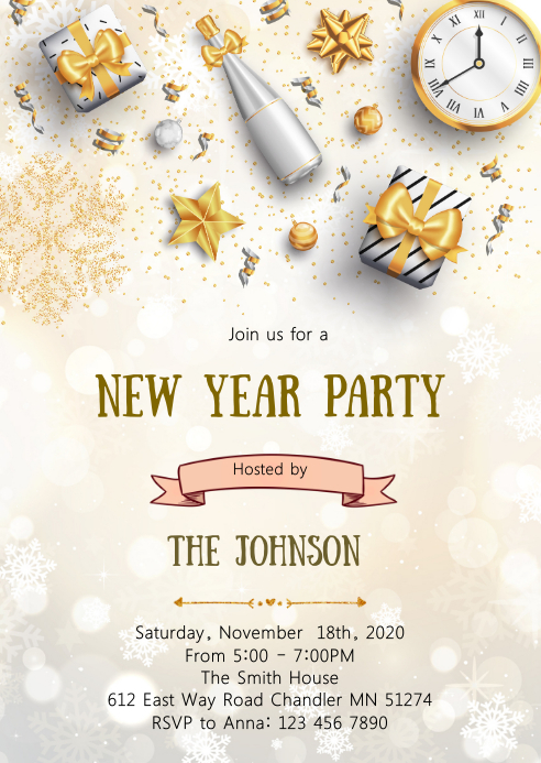 Christmas new year party invitation