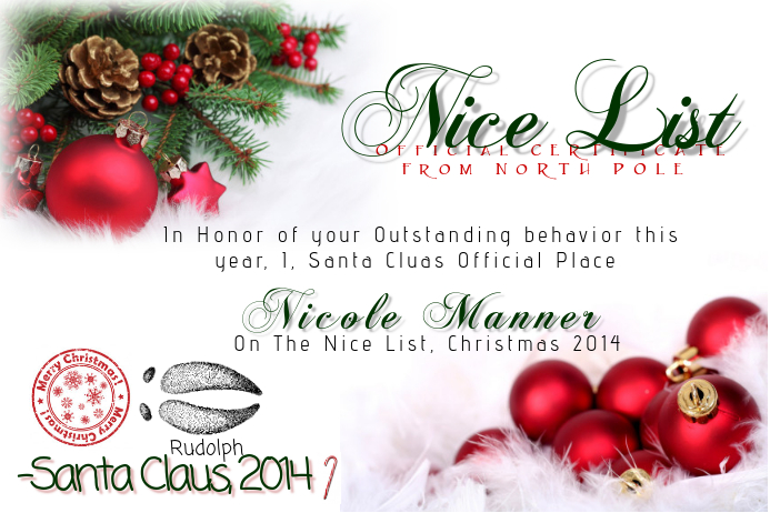 Christmas Certificate.Christmas Nice List Certificate Template Postermywall