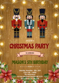 Christmas nutcracker theme invitation A6 template